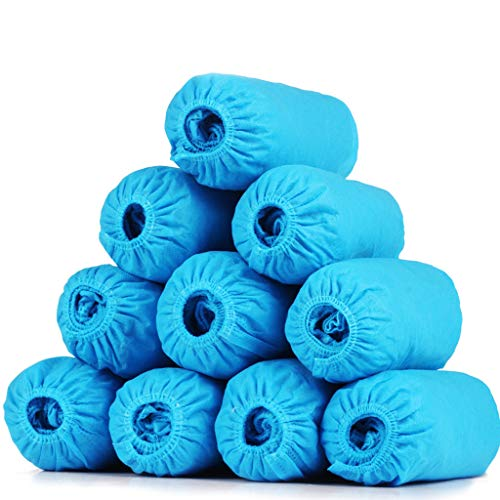 100 Pcs Disposable Protection Shoe Covers Waterproof Breathable Dust-Proof Resistant Hygienic Non Slip Stretchable Fits Shoe Cover (Blue)