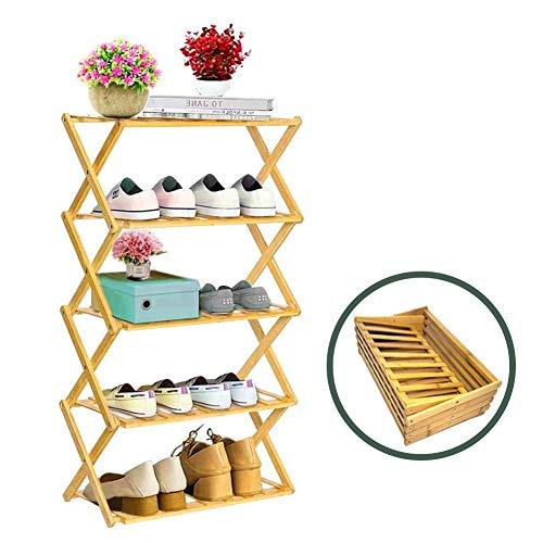 Rayuda Zapatero de madera plegable de 5 niveles, 89 x 49 x 25 cm, resistente y ahorra espacio, se puede utilizar como soporte para flores en el salón, el balcón o el baño.