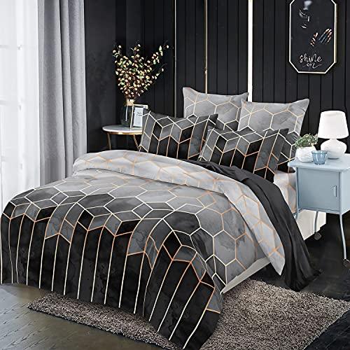 Xiongfeng Mitchell Marmor Bettwäsche 200x200 cm Grau Geometrisch Wendebettwäsche Vintage Kariert Microfaser Doppelbett Bettbezug und 2 Kissenbezug 80x80cm mit Reißverschluss
