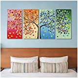 Life Tree Canvas Painting Abstract Wall Art Print Poster Canvas Art Wall Pictures for Living Room Decor 7x14inch (18x36cm)x4 no frame