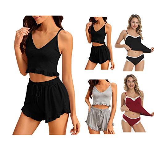 Dtuta Damen Sexy Schlafanzug Nachtwäsche Hausanzug Zweiteiliger Ärmellos Nachthemd Frauen Pyjama Set+ Freizeithaus Eingestellt Bequem Kurz Shorts Dessous Negligee Sleepwear für Sport Running Yoga