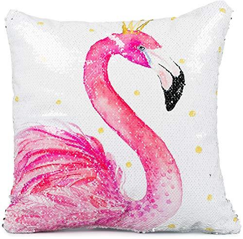 Puccybell Pailletten Kissenbezug, Kissenhülle mit Flamingo Digitaldruck, Zierkissen Hülle für Kissen 40 x 40 cm KB007 (Weiß Pink Flamingo)