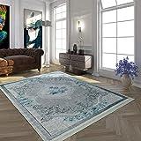 Paco Home Tapis Moderne avec Motif Vintage Imprimé Design Tendance Gris Turquoise,...