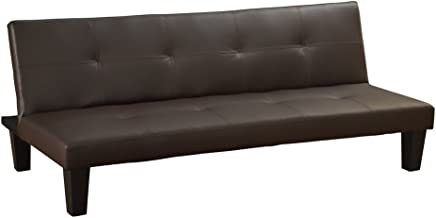 Homegear Modern Faux Leather Convertible 3 Seater Sofa/Futon Couch Guest Bed Brown