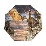 Doreen Dalton Dragon Castle - Paraguas Plegable (3 Pliegues, Cierre automático)