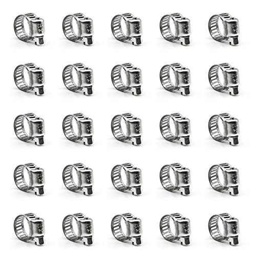 ZIPCCI Hose Clamp, 25 Pack Stainless Steel Worm Gear fuel...