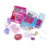 UNIH Makeup Cash Register Playset for Girls Pretend Play Calculator, Money, Scanner, Credit Card & Makeup, Realistic Actions & Sounds, Educational Counting Toy for Kids 2-6 Years Old