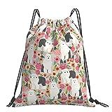 Mochila con cordón ajustable al aire libre impermeable para deportes, mochila de deporte – Viejo perro pastor inglés floral raza perro mascota arte patrón regalos manta almohada bolsa