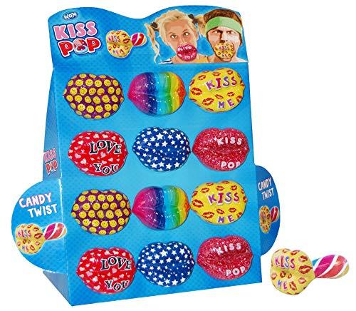 WOM Mad Lips, 12 Ciucci per caramelle al gusto di fragola con forma di labbra divertenti, Espositore con 12 ciucci caramelle e 6 diversi modelli di labbra da collezionare