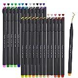 stylos a pointe fine, Beupro Lot de 24 Couleurs Stylos Feutre à Pointes Fine pour croquis bureau de...