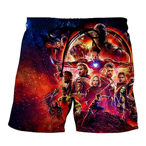 JXKEF Men Beach Swimming Shorts,Boys 3D Swimming Running Casual Quick Dry Surfing Beach Shorts,Avengers,Pockets,Adjustable Drawstring,K6,L