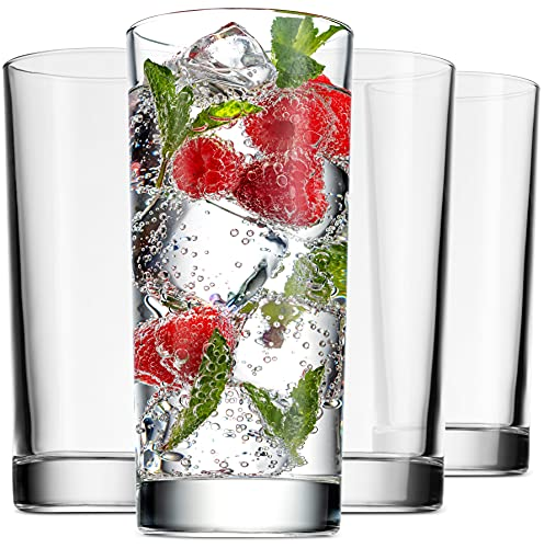 Godinger Highball Glasses, Italian Made Glass Tall Drinking Glasses Beverage Cups - 14oz, Set of 4