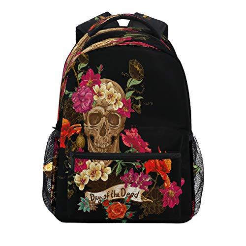 ALAZA Floral Suagr Skull Day of the Dead Backpack Daypack College School Travel Shoulder Bag