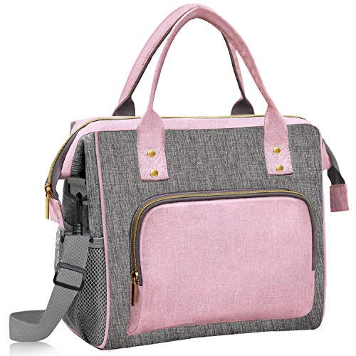 Lunch Bags for Women Large, Insulated Lunch Cooler Bag, Pink Cute Lunch Bag, Leak Proof Tote Bag with Adjustable Shoulder Strap for Women Work, School, Office, Picnic, Beach,Gift for Women