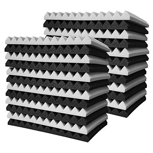 Heritan 24 piezas de espuma acústica, panel de pared de tratamiento de pirámide de espuma acústica, 2,5 x 30 x 30 cm