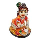 Handicraft Makhan Chor Lord Shri Krishan Vastu Home / Car Dashboard decorativo Showpiece (estándar, naranja)