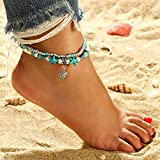 Fdesigner Boho Turtle Layered Anklet Bracelet Fashion Life of Tree Anchor Dangle Ankle Turquoise Beach Foot Chain Jewelry for Women (Turtle)