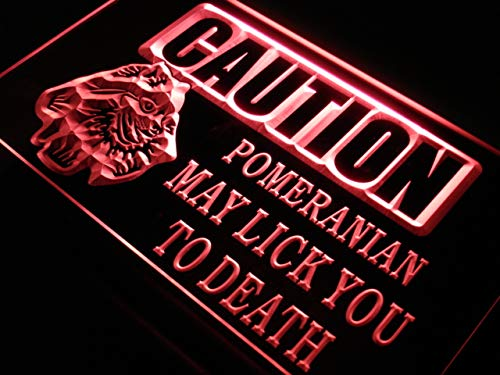 ADVPRO Caution Pomeranian Dog Lick Dog LED Neon Sign Red 24 x 16 Inches st4s64-s185-r