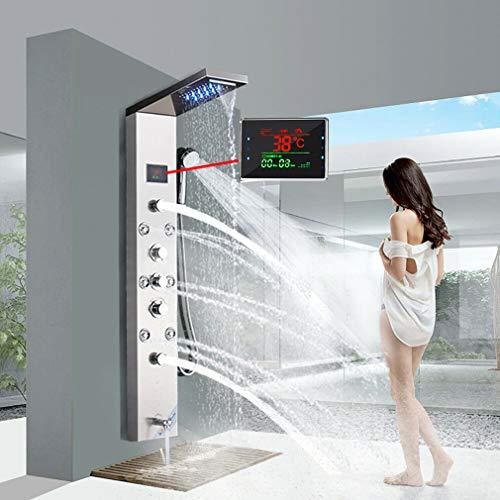JUNSHENG Panel de Ducha Moderna Acero Inoxidable Columna de Hidromasaje Para Baño Con LED Alcachofas + 5 Salida de Agua + LCD Pantalla de Temperatura,Níquel cepillado
