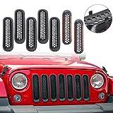Clip-in Front Grille Mesh Inserts for Jeep Wrangler JK & Unlimited 2007-2015 (Matte Black)