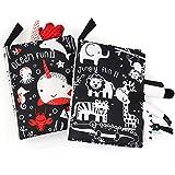 Ballery Livre Tissu Bébé, Lot de 2 Livre de Tissu de Queue, Livre Sensoriel Bebe Jouet Naissance de Bain Cadeau 3D Toucher Soft Book Lavable Premier Livre pour Enfants Bambin (Noir Blanc)