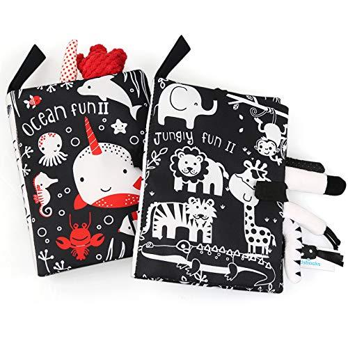 Ballery Libri di Stoffa per Neonati, 2 Pezzi Animali Libro Sensoriale Neonati Libri di attività in Bianco e Nero Libro Stoffa di Coda Giocattoli Educativi Neonato Regali