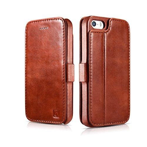 Custodia per iPhone 5S, ICARER genuino pelle custodia pieghevole cover con stand funzione, 2 della carta vintage stile vera pelle Cover per iPhone 5 5S SE (marrone)