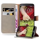 Cadorabo Hülle für LG G2 - Hülle in Cappucino BRAUN – Handyhülle im Luxury Design mit Kartenfach & Standfunktion - Hülle Cover Schutzhülle Etui Tasche Book