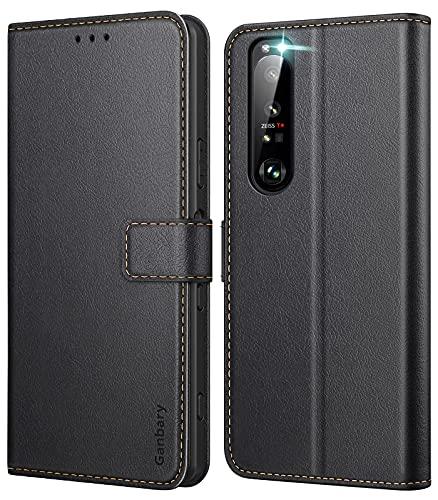 Ganbary Handyhülle für Sony Xperia 1 III Hülle, Premium Leder Tasche Flipcase [Kartenschlitzen] [Magnetverschluss] [Standfunktion] kompatibel mit Sony Xperia 1 III Schutzhülle, Schwarz