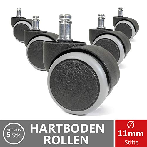 OfficeWorld Range Hartbodenrollen Stuhlrollen Ø 50mm 5er Set - Ø11mm x 22mm Stiftlänge -...