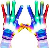 Aoweika LED Handschuhe Kinder Bunte Licht Handschuhe Leuchtende Handschuhe Halloween Weihnacht...
