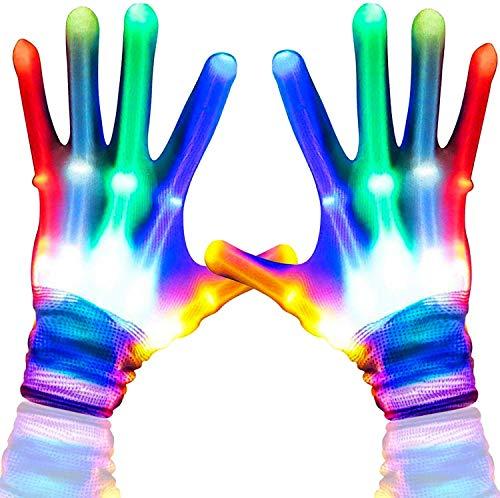 Aoweika LED Handschuhe Kinder Bunte Licht Handschuhe Leuchtende Handschuhe Halloween Weihnacht Handschuhe Beleuchtung Handschuhe für Kinder 8-12+ Jahre alt