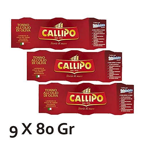 tonno callipo in olio di oliva scatola rossa 9 confezioni da 80 gr cadauna