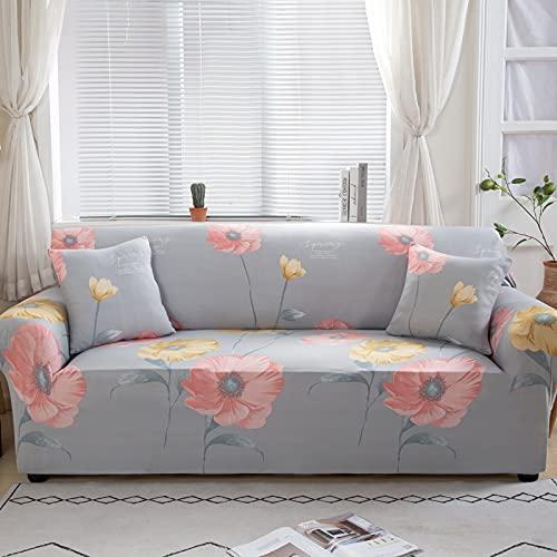 WXQY Fundas con Estampado Floral Funda de sofá elástica elástica Funda de sofá con protección para Mascotas Funda de sofá con Todo Incluido en Forma de L A18 2 plazas