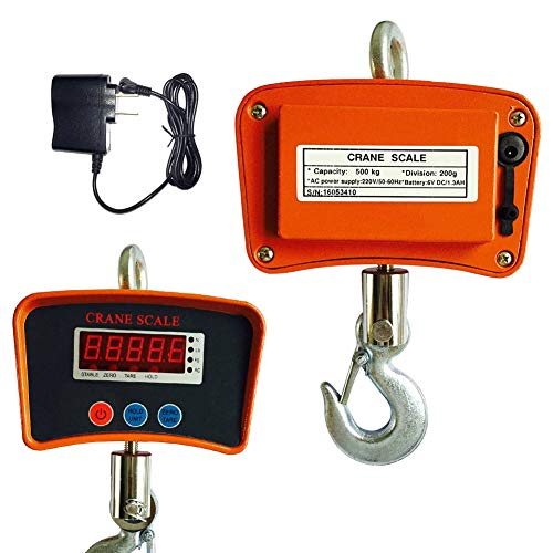 Crane Scale, TBVECHI Industrial Digital Crane Scale Hanging Weight Measure 500 KG / 1100 LBS Heavy Duty
