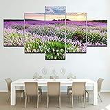 WMWSH Creative Wandkunst Modulare Bilder Wohnkultur Provence Lavendelfeld 5 Stücke Gemälde Wohnzimmer Leinwandbilder Vlies Leinwand Wandbild Wohnzimmer Wanddekoration