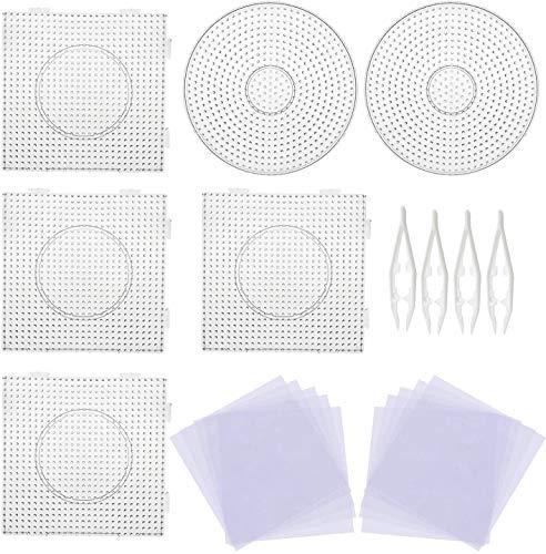 Meirrai 5mm 6PCS Pegboards grote sjablonen met 4 stuks witte kralen, 10 stuks strijkpapier, transparante vierkante platen voor kralen Kids Craft kralen