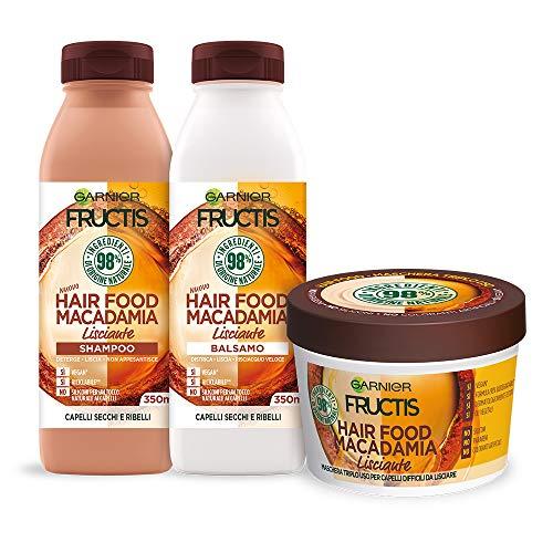 Garnier Shampoo + Balsamo + Maschera Fructis Hair Food, Kit Alla Macadamia per Capelli Ribelli, Effetto Anti-Crespo, 98% di Ingredienti di Origine Naturale, Confezione da 3