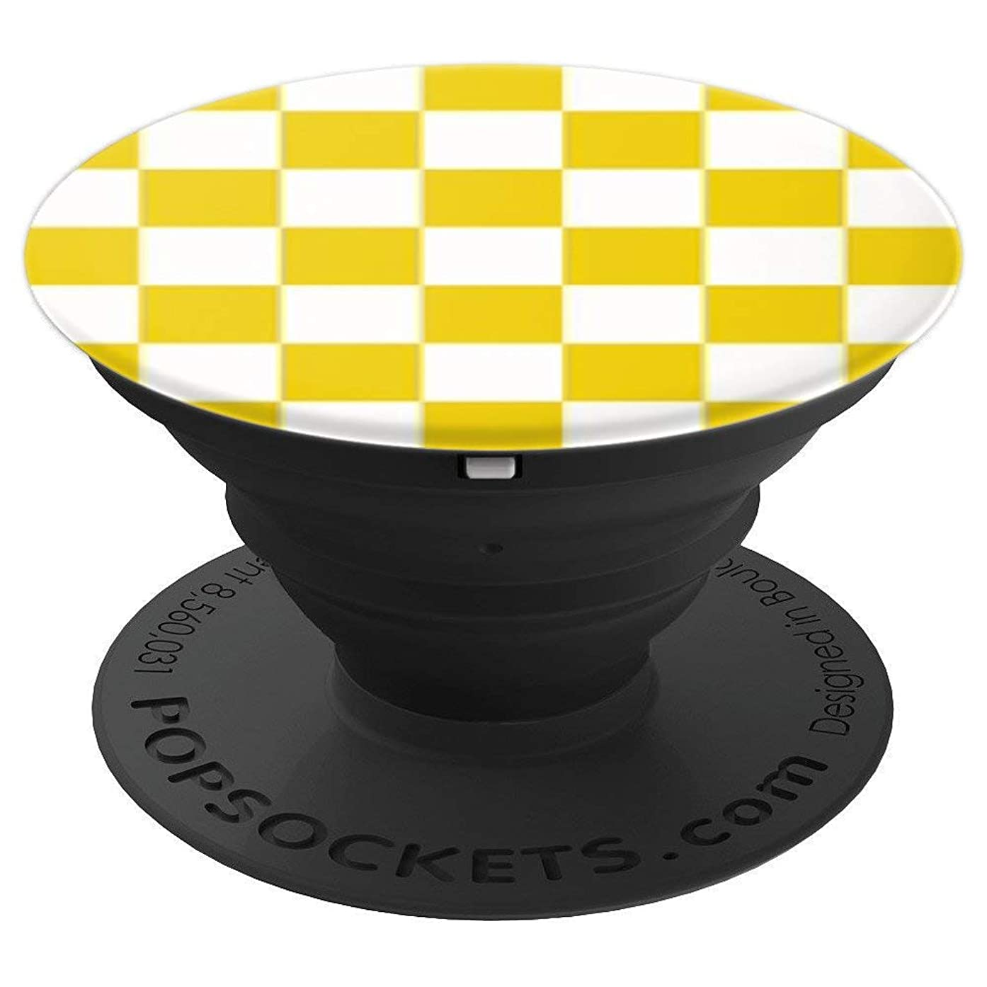 Yellow And White Checkered Phone Holder Checkerboard Check - PopSockets Grip and Stand for Phones and Tablets