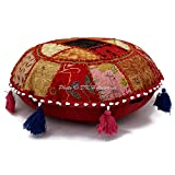 DK Homewares Round Bohemian Floor Pillow Cover Multicolored 18 Inch Patchwork Yoga Pouffe Footstool Home Decor Embroidered Vintage Cotton Indian Floor Cushions Seating for Adults 18x18