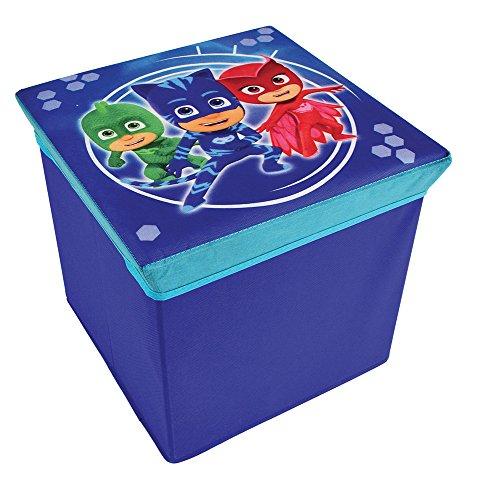 FUN HOUSE 712873 PYJAMASQUES Tabouret de Rangement pour Enfant, PP/Carton, Bleu, 30 x 30 x 30 cm