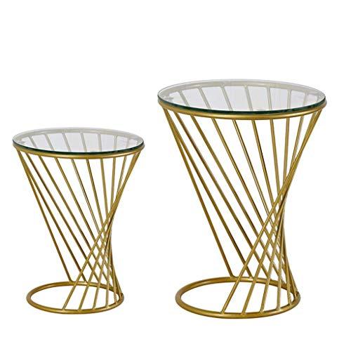 Petite Table Ronde Nordique/Table Basse/Canapé Côté Table De Chevet Rangement/Petite Table Ronde En Fer Forgé En Spirale Une Grande Une Petite Combinaison (Couleur : Gold combination)