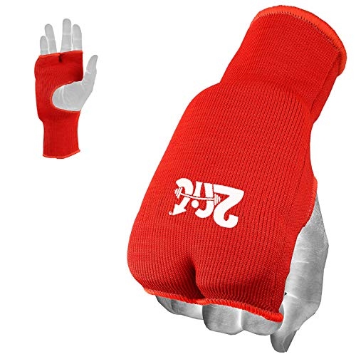 2Fit Karate Mitts Elastische Baumwolle Kampfsport Boxen MMA Training Innenhandschuhe Open Finger Muay Thai Bandagen Fist gepolstert Karate Handschuhe Rot XS