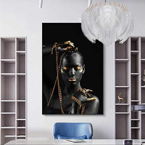 SADHAF Afrikanische Kunst Schwarzes Mädchen Porträt Druck Gemälde Tiere Heimtextilien Wohnzimmer Leinwand Malerei Kunstdruck A3 50x70cm