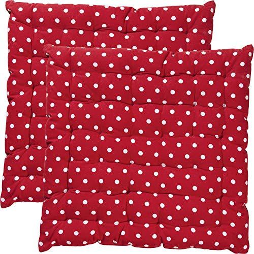REDBEST Stuhlkissen, Stuhlauflage, Sitzkissen Punkte 2er-Pack Orlando, 100% Baumwolle rot Größe 40x40x3 cm - Robustes, glattes Gewebe, angenehmer Sitzkomfort (weitere Farben)