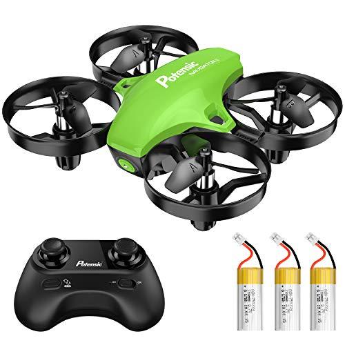 Potensic Mini Drohne für Kinder mit 3 Akkus, Ferngesteuerter RC Quadrocopter Helikopter, 3 Geschwindigkeiten, Höhehalten, kopfloser Modus, 15 min Flugzeit, eine Taste zur Starten / Landen für Anfänger