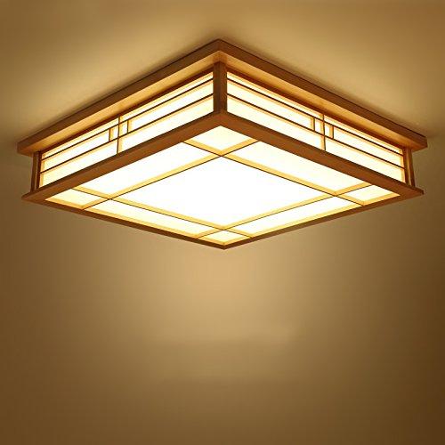 LYXG Luz de techo japonés LED Lámparas de madera sólida sala tatami farolas (450mm*450mm*120mm), dormitorio balcón registra luz cálida