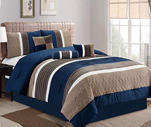 JBFF Collection Bed in Bag 7PC Luxury Stripe Microfiber Comforter Set (Queen, Navy)