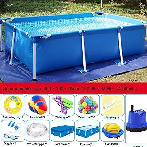 Zomer Draagbaar Rechthoekig Familie Zwem Kinderbad 260 \u0026 keer; 160 \u0026 keer; 65 cm Easy Set Zwembad Zonder Filter Opblaasbare Baby Zwemring Water Speelcentrum