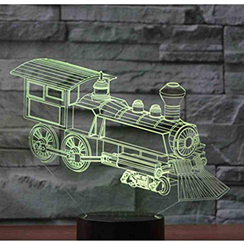 BJDKF 3D Led Luce Notturna Train Locomotive Loco With 7 Colors Light For Home Decoration Lamp Amazing Visualization Optical Illusion